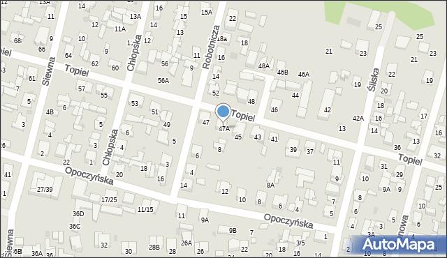 Radom, Topiel, 47A, mapa Radomia