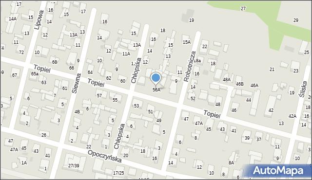 Radom, Topiel, 56A, mapa Radomia
