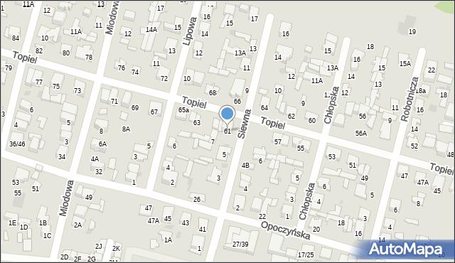 Radom, Topiel, 61, mapa Radomia