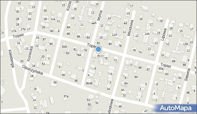 Radom, Topiel, 77, mapa Radomia