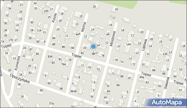 Radom, Topiel, 80, mapa Radomia