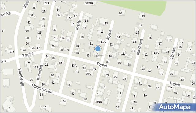 Radom, Topiel, 84, mapa Radomia