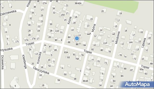 Radom, Topiel, 86, mapa Radomia