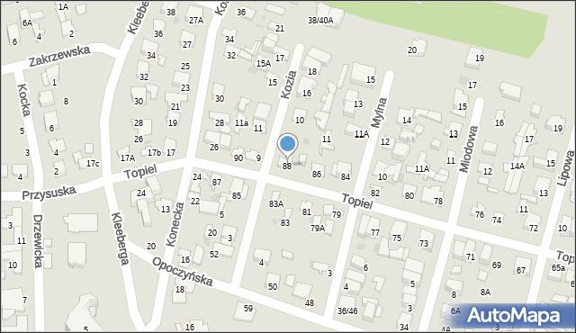 Radom, Topiel, 88, mapa Radomia