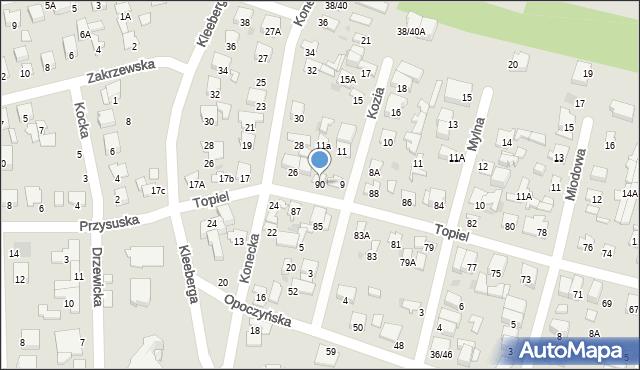 Radom, Topiel, 90, mapa Radomia