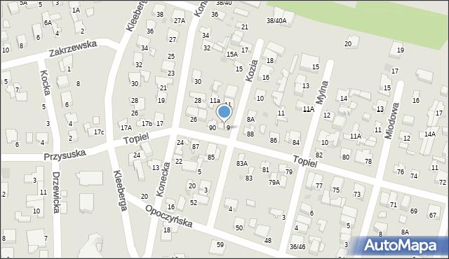 Radom, Topiel, 90A, mapa Radomia