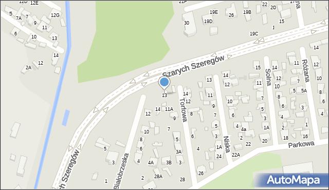Radom, Torfowa, 13, mapa Radomia