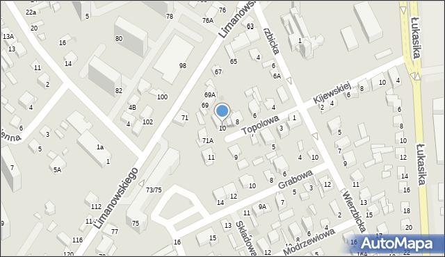 Radom, Topolowa, 10, mapa Radomia