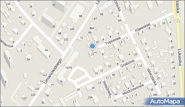 Radom, Topolowa, 11, mapa Radomia