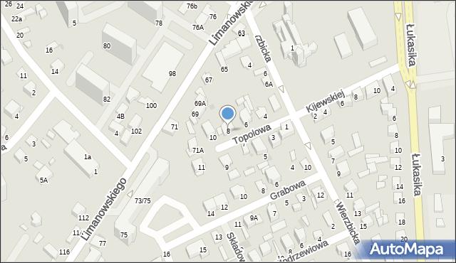 Radom, Topolowa, 8, mapa Radomia