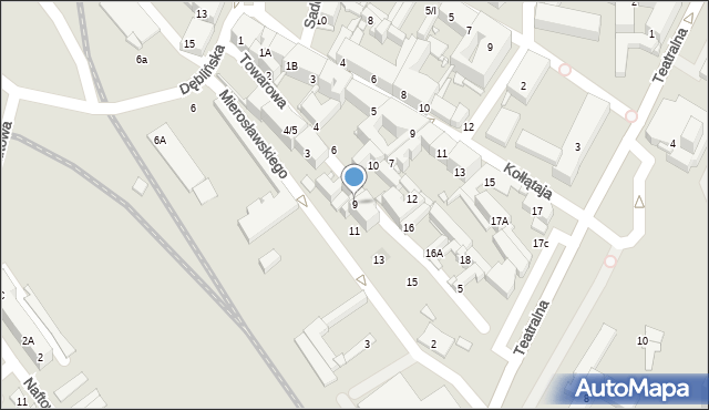 Sosnowiec, Towarowa, 9, mapa Sosnowca