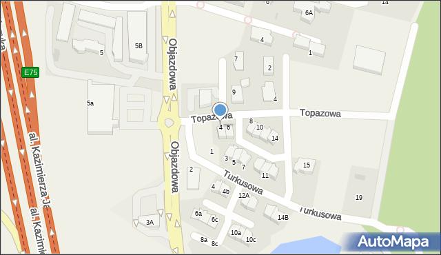 Straszyn, Topazowa, 4, mapa Straszyn
