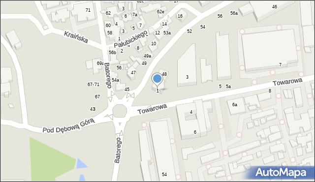 Toruń, Towarowa, 1, mapa Torunia