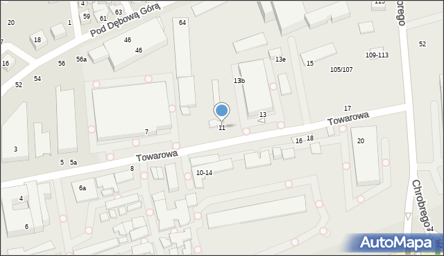 Toruń, Towarowa, 11, mapa Torunia