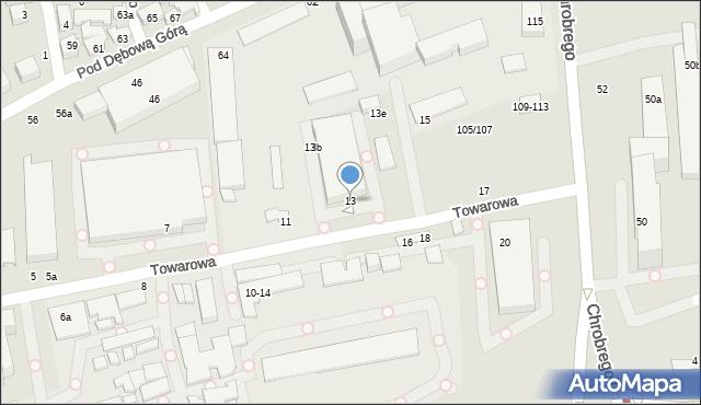 Toruń, Towarowa, 13, mapa Torunia