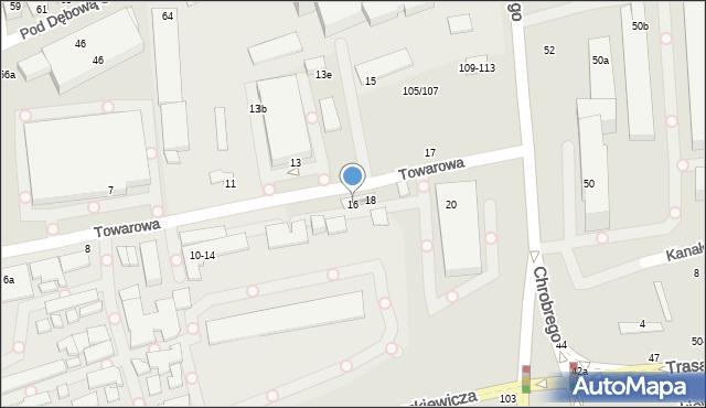 Toruń, Towarowa, 16, mapa Torunia