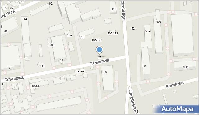 Toruń, Towarowa, 17, mapa Torunia