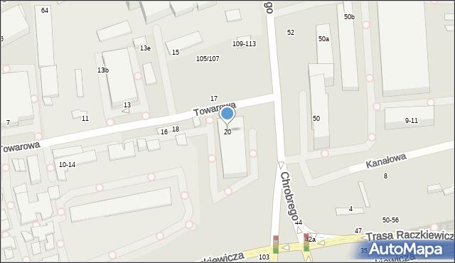 Toruń, Towarowa, 20, mapa Torunia