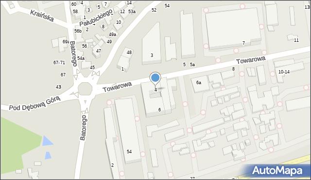 Toruń, Towarowa, 4, mapa Torunia
