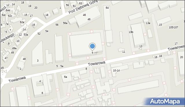 Toruń, Towarowa, 7, mapa Torunia