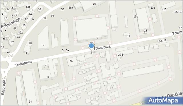 Toruń, Towarowa, 8, mapa Torunia