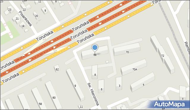 Warszawa, Toruńska, 68, mapa Warszawy