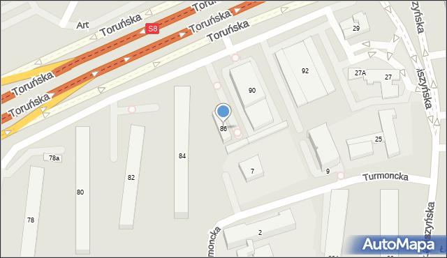 Warszawa, Toruńska, 86, mapa Warszawy