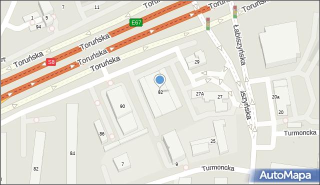 Warszawa, Toruńska, 92, mapa Warszawy