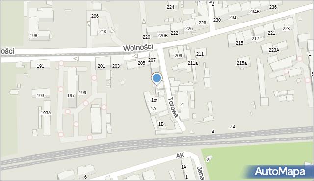 Zabrze, Torowa, 1, mapa Zabrza