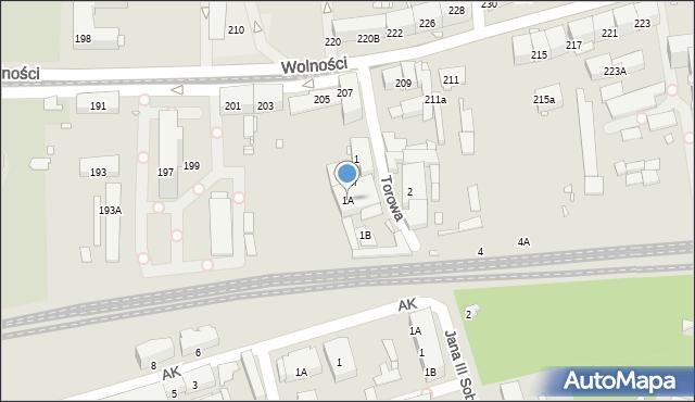 Zabrze, Torowa, 1A, mapa Zabrza