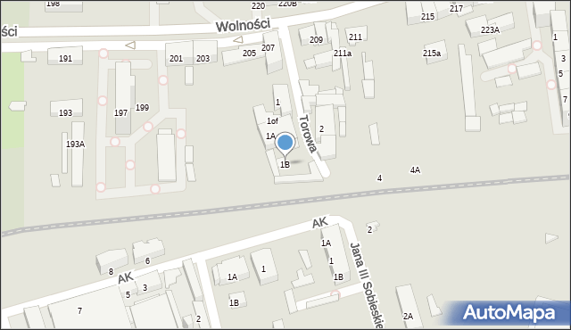 Zabrze, Torowa, 1B, mapa Zabrza