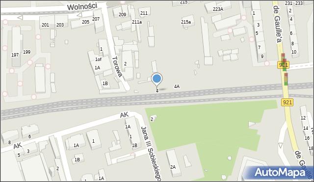 Zabrze, Torowa, 4, mapa Zabrza