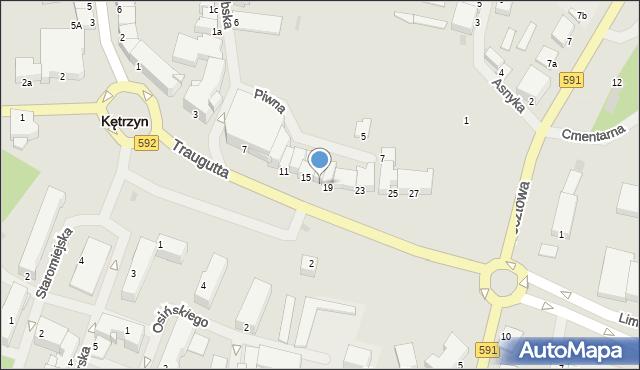 Kętrzyn, Traugutta Romualda, gen., 17, mapa Kętrzyn