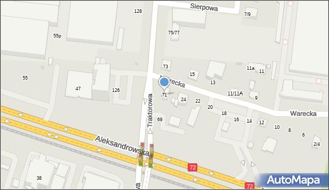 Łódź, Traktorowa, 71, mapa Łodzi