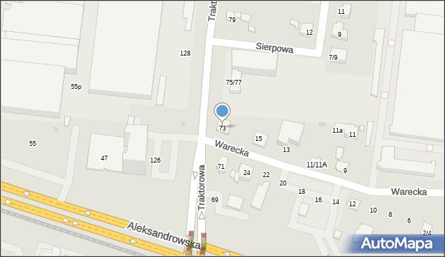Łódź, Traktorowa, 73, mapa Łodzi