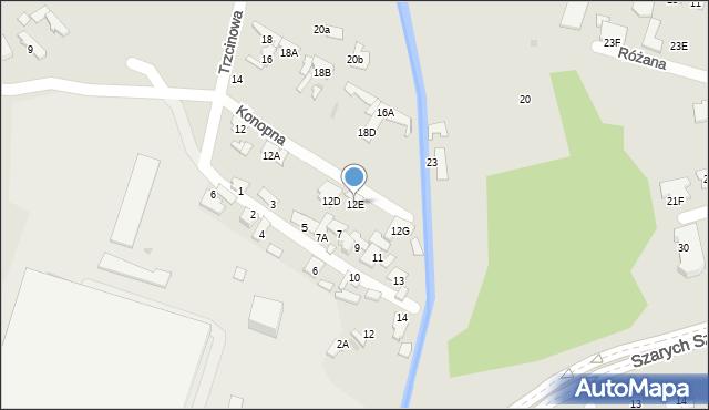 Radom, Trzcinowa, 12E, mapa Radomia
