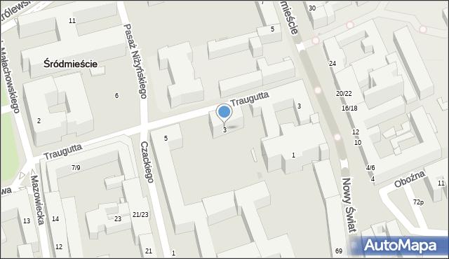 Warszawa, Traugutta Romualda, gen., 3, mapa Warszawy