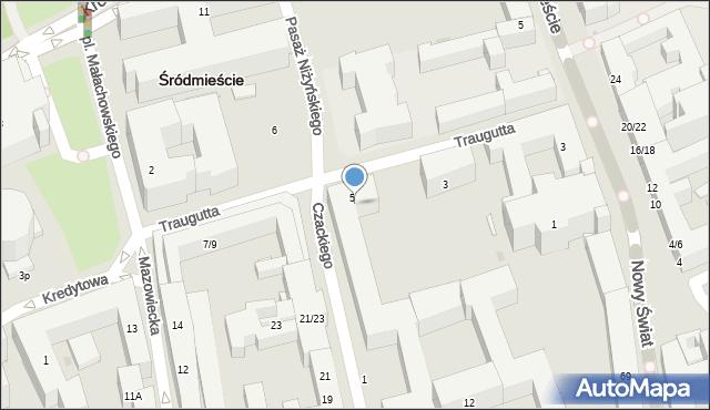 Warszawa, Traugutta Romualda, gen., 5A, mapa Warszawy