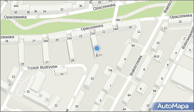 Warszawa, Trzech Budrysów, 31, mapa Warszawy