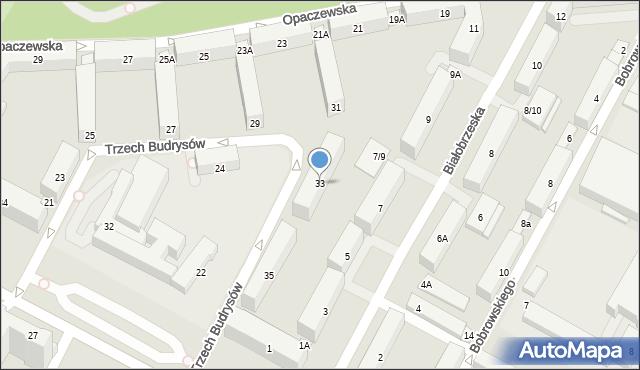 Warszawa, Trzech Budrysów, 33, mapa Warszawy