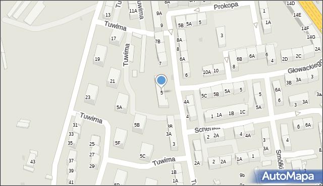 Bytom, Tuwima Juliana, 5, mapa Bytomia
