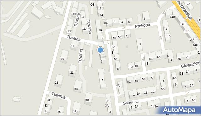 Bytom, Tuwima Juliana, 7A, mapa Bytomia