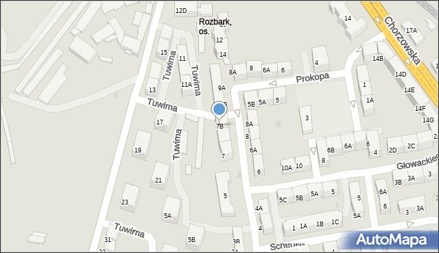 Bytom, Tuwima Juliana, 7B, mapa Bytomia