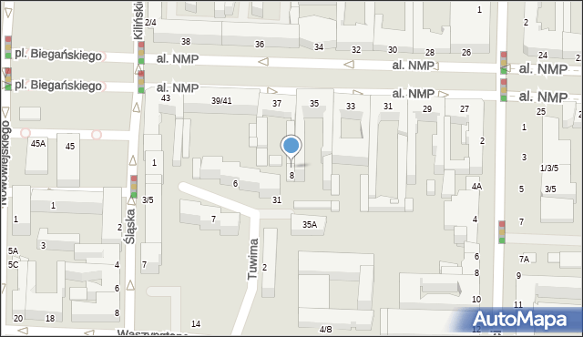 Częstochowa, Tuwima Juliana, 8A, mapa Częstochowy