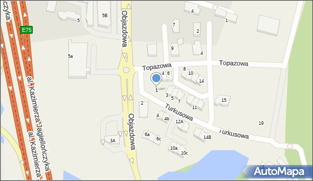 Straszyn, Turkusowa, 1, mapa Straszyn