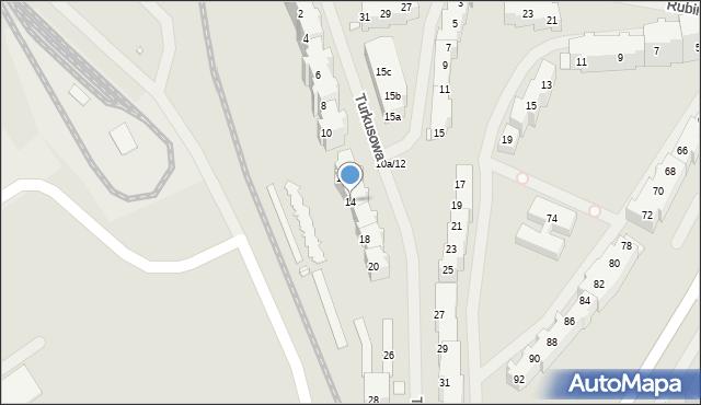 Szczecin, Turkusowa, 14, mapa Szczecina