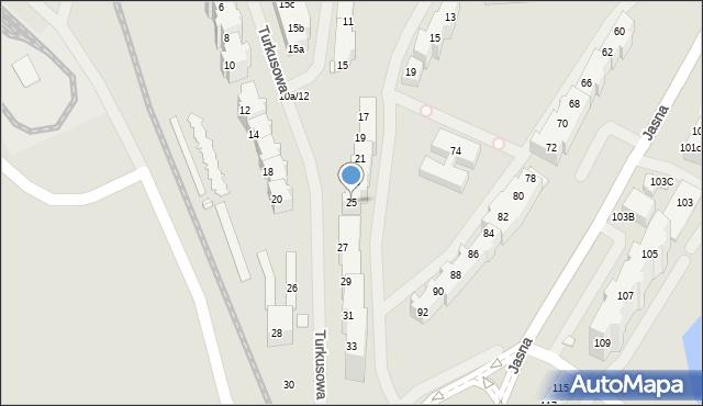 Szczecin, Turkusowa, 25, mapa Szczecina