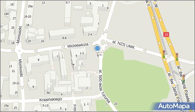 Toruń, Tujakowskiego Alojzego, 5, mapa Torunia