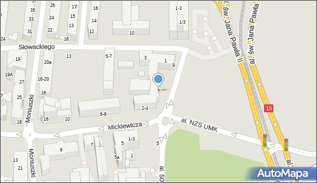 Toruń, Tujakowskiego Alojzego, 7, mapa Torunia