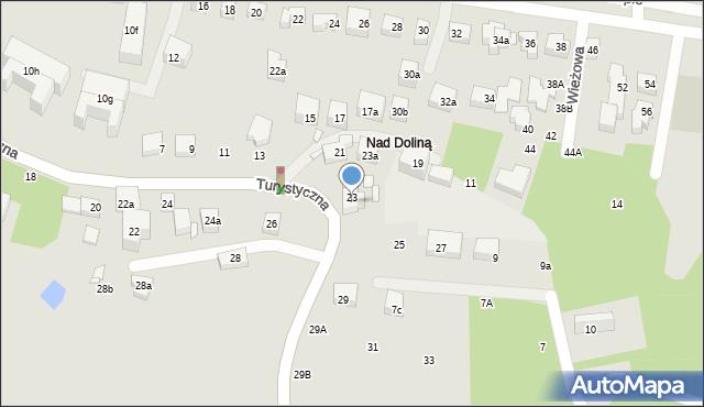 Toruń, Turystyczna, 23b, mapa Torunia